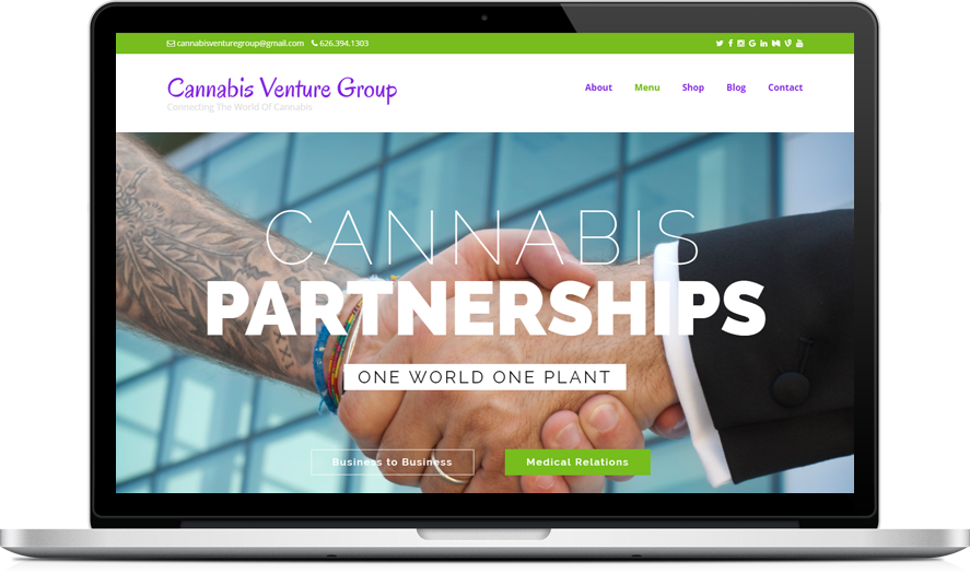 Cannabis Venture Group - CannaBiz WordPress theme example
