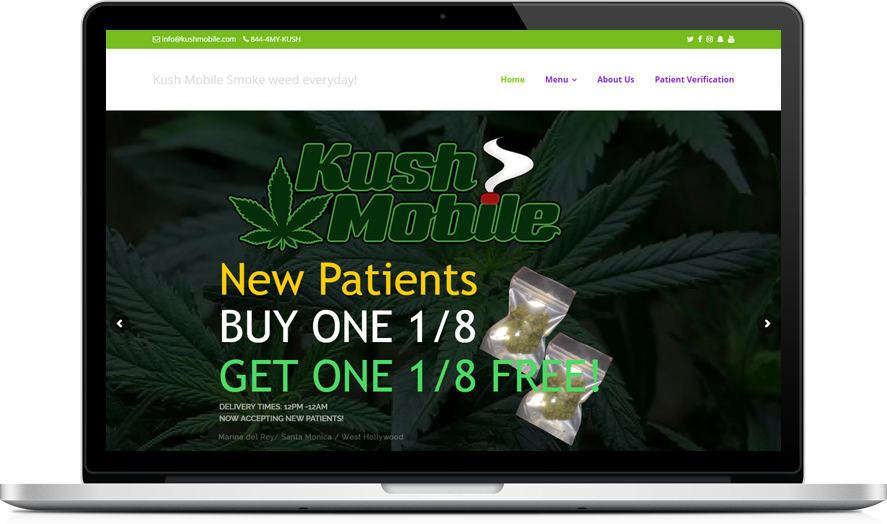 Kush Mobile CannaBiz WordPress theme example
