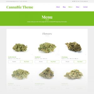 CannaBiz WordPress theme - WP Dispensary menu display