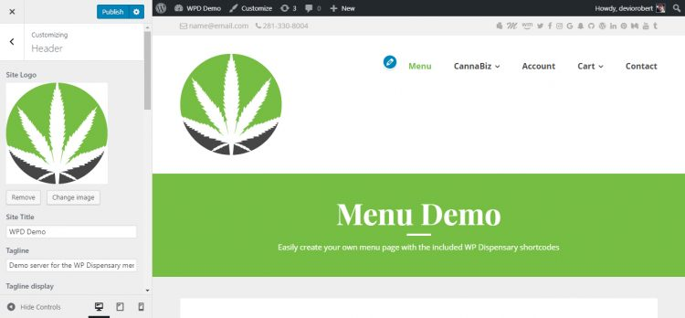 WP Dispensary demo logo image upload