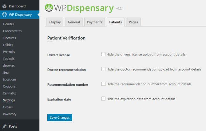 WP Dispensary's Patient Verification Settings