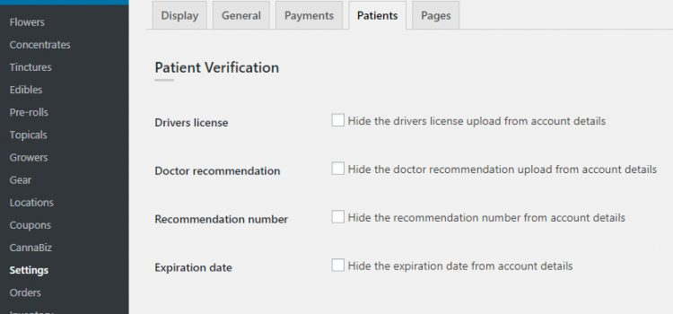 WP Dispensary's Patient Verification Settings