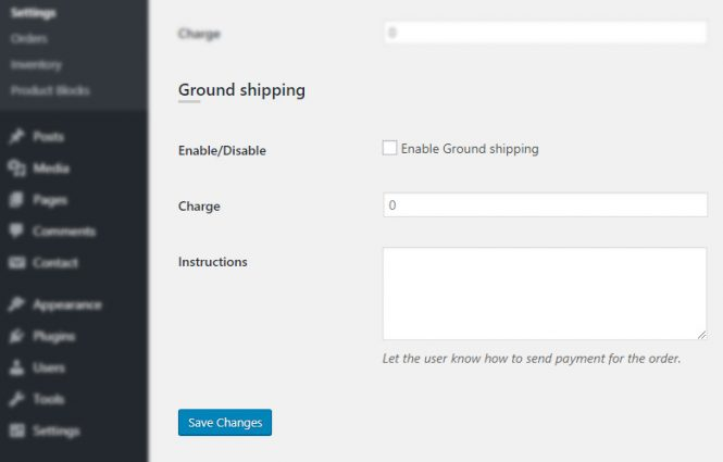 WP Dispensary admin Settings Payments Ground Shipping