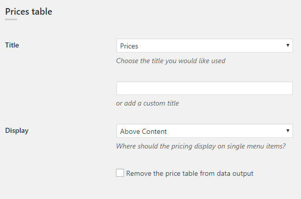 WP Dispensary Settings Pricing Table