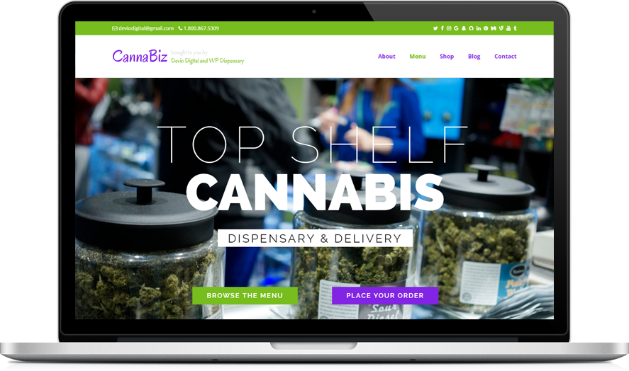 CannaBiz - marijuana dispensary menu WordPress theme